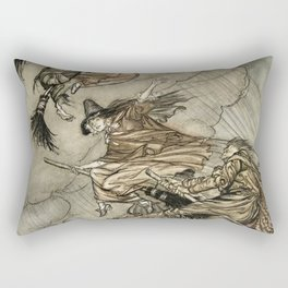"""Four Witches """"Up The Chimney"""" by Arthur Rackam Rectangular Pillow"""