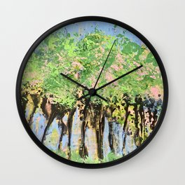 Drinking Wine under the Strawberry Trees Wall Clock