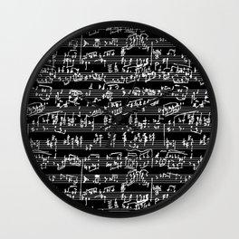 Hand Written Sheet Music // Black Wall Clock