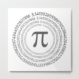 The Pi symbol mathematical constant irrational number on circle, greek letter, background Metal Print