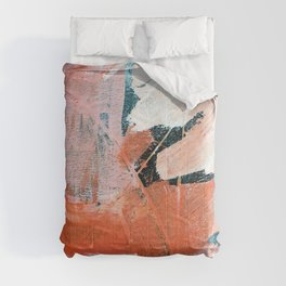 Interrupt [3]: a pretty minimal abstract acrylic piece in pink white and blue by Alyssa Hamilton Art Comforters