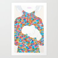 knit Art Prints featuring FEBRUARY KNIT by kasi minami