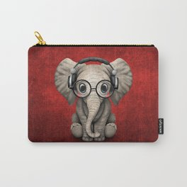 Cute Baby Elephant Dj Wearing Headphones and Glasses on Red Carry-All Pouch