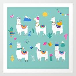 Hola, Llama Art Print