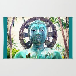 """""""Peace"""" Quote Asian Turquoise Blue Buddha Statue Rug"""