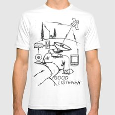 Good Listener LARGE Mens Fitted Tee White