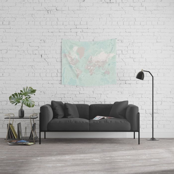 """Detailed world map with coral, seaweed and marine creatures, """"Lenore"""" Wall Tapestry"""