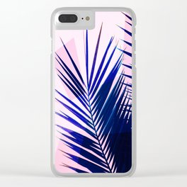 Indigo Palm Leaves on Pink Pastel Geometry #tropical #decor #lifestyle Clear iPhone Case