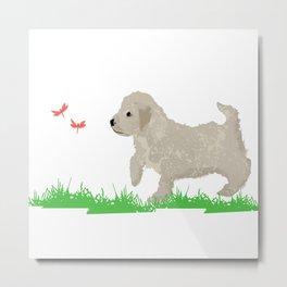 Cockapoo dog art cream Metal Print