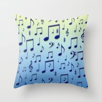 music notes Throw Pillows featuring Music notes by Gaspar Avila