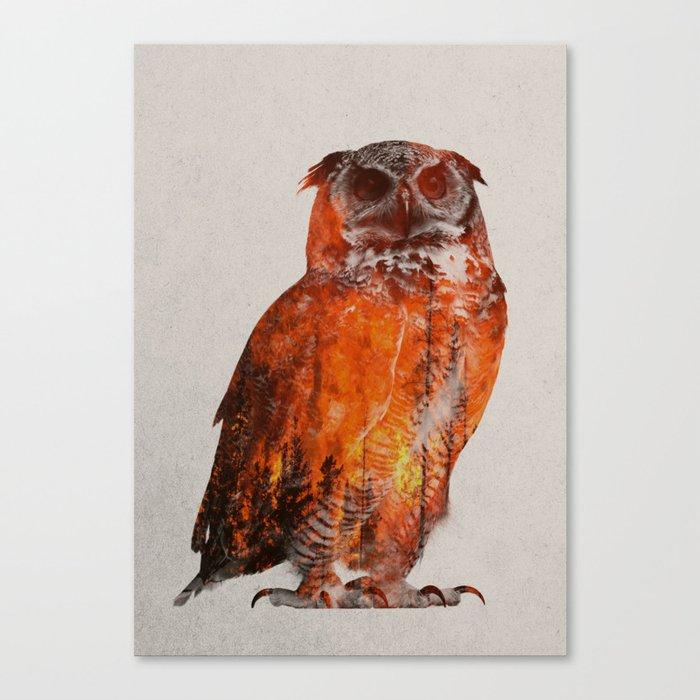 Owl In Wildfire Leinwanddruck