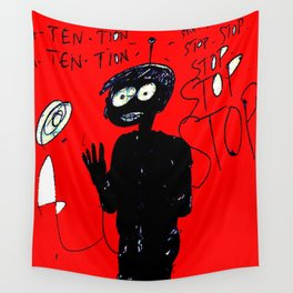 PANIC - red Wall Tapestry