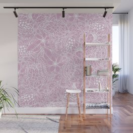 Modern trendy white floral lace hand drawn pattern on mauve pink lavender Wall Mural