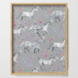 Unicorns and Stars on Soft Grey Serving Tray