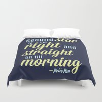 peter pan Duvet Covers featuring Peter Pan Quote by Rosaura Grant