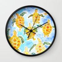 turtles Wall Clocks featuring Turtles by Julie Lehite