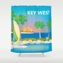 Key West, Florida - Skyline Illustration by Loose Petals Shower Curtain