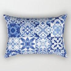 Indigo Watercolor Tiles Rectangular Pillow