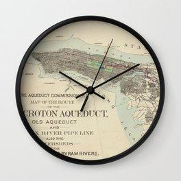 Vintage Map of NYC & The Croton Aqueduct (1899) Wall Clock