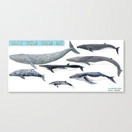 Happy world whale day Canvas Print