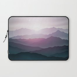 dark blue mountain landscape with fog and a sunrise and sunset Laptop Sleeve