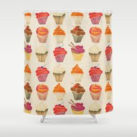 cupcakes Shower Curtains featuring Cupcakes by Cat Coquillette