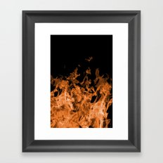 Orange Flame on Black Framed Art Print