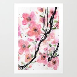 Watercolored Cherry Blossoms Art Print