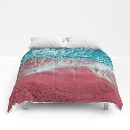 SPLASH - Electric Pink Sand and Turquoise Waves Comforters
