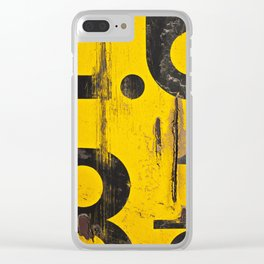 black numbers on yellow background Clear iPhone Case