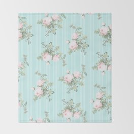 Shabby chic roses pink and mint Throw Blanket
