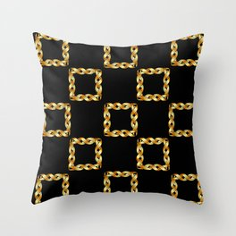Twisted gold squares Throw Pillow