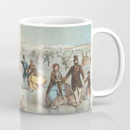 Vintage Central Park Ice Skating Painting (1861) Coffee Mug