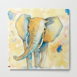 Water Color Elephant Colorful Metal Print