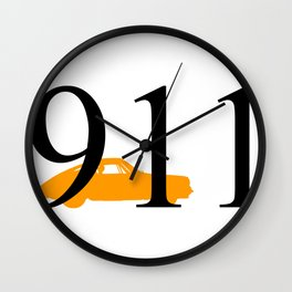 Porsche 911 Orange Black Wall Clock