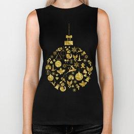 Golden Shimmering Christmas Ornament Bauble Biker Tank
