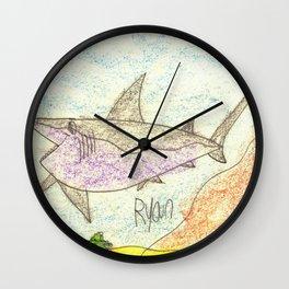 Great White Shark on the Ocean Floor Wall Clock