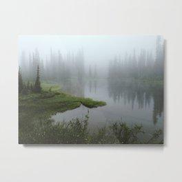 Foggy Tree Reflection Lake Metal Print