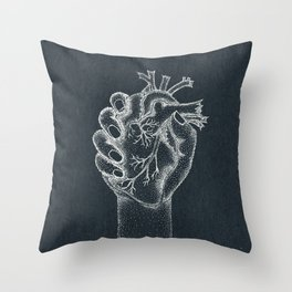 Fix your hearts or die- white on black Throw Pillow