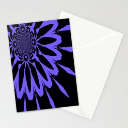 The Modern Flower Black and Periwinkle Purple Stationery Cards