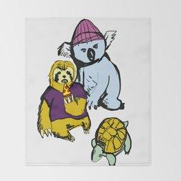 sloth koala turtle squad Throw Blanket