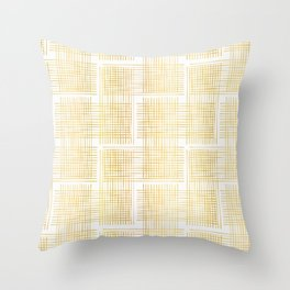 Luxe Gold Criss Cross Weave Hand Drawn Vector Pattern Background Throw Pillow