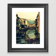 Moody Canal in Annecy, France Framed Art Print