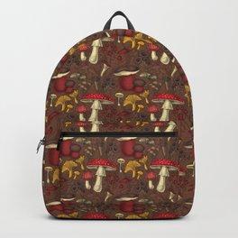Wild mushrooms on brown  Backpack