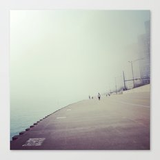 Lake Shore Path in Fog Canvas Print