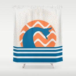 Hang Loose Wave // Sun Surfer Shaka Beach Retro Graphic Design Horizontal Daze Waves Shower Curtain