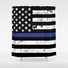 Police Thin Blue Line Flag Shower Curtain