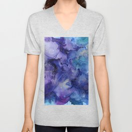 Abstract Watercolor and Ink Unisex V-Neck