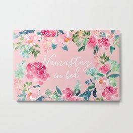 Rose Quartz and Peonies Namastay in bed Metal Print