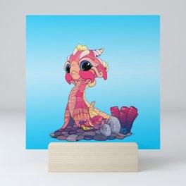 Peach Baby Sea Serpent and Mini Art Print